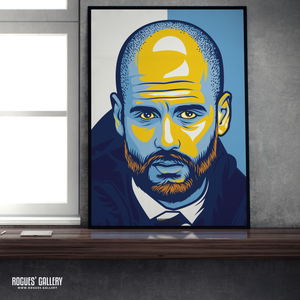 Pep Guardiola Manchester City FC Boss Sky Blues Manager MCFC A1 Print modern art