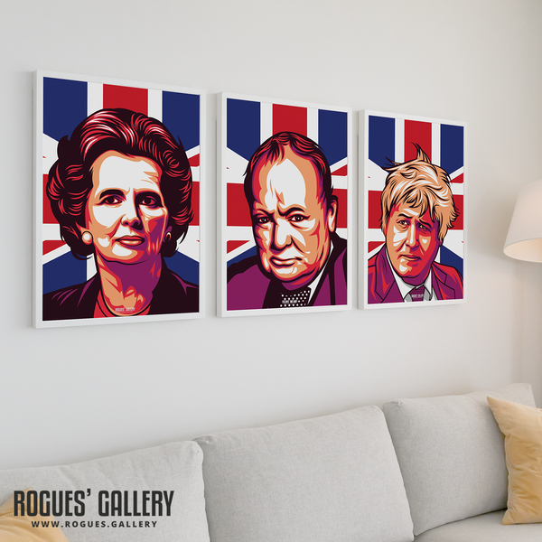 Boris Johnson Maggie Thatcher Winston Churchill prints on wall modern A3