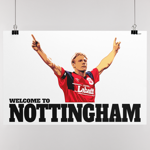 Psycho Salute Print Stuart Pearce Welcome to Nottingham Forest Captain England left back Three Lions Manager