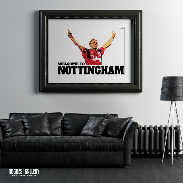 Stuart Pearce Psycho Welcome To Nottingham Forest Captain England left back Three Lions Print A0 leather sofa