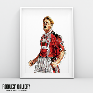 Psycho Stuart Pearce Nottingham Forest NFFC captain salute clenched fists City Ground A3 print signed