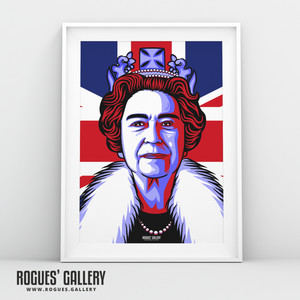 The Queen Elizabeth II Royalty Union Jack art print modern design edit A3 size