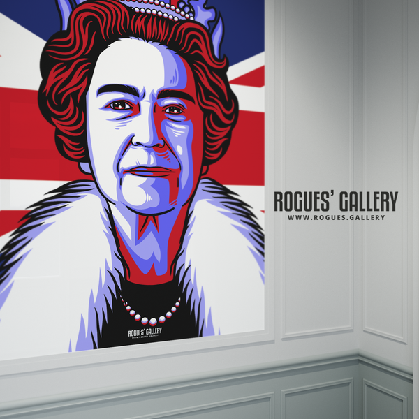 The Queen Elizabeth II Royalty Union Jack art print modern design edit A0 size poster regina by appointment