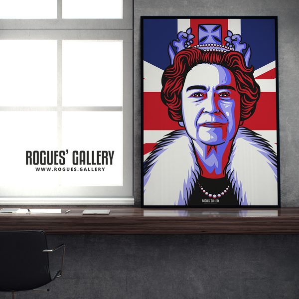 The Queen Elizabeth II Royalty Union Jack art print modern design edit A1 size