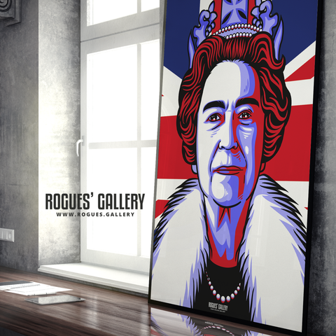 The Queen Elizabeth II Royalty Union Jack art print modern design edit A0 size