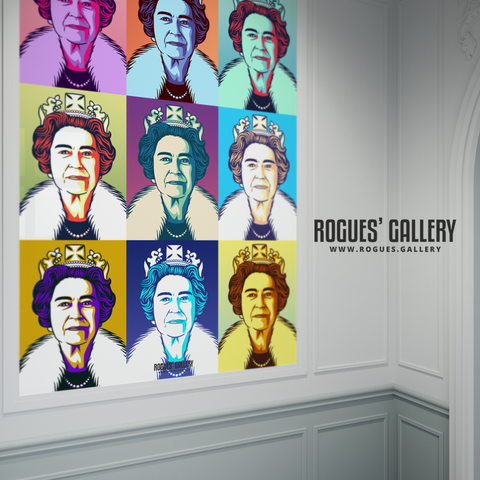 The Queen Elizabeth II Royalty pop art print modern design edit A0 size
