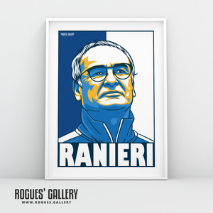 Claudio Ranieri Leicester City LCFC Foxes Premier League Champions A3 Print manager boss
