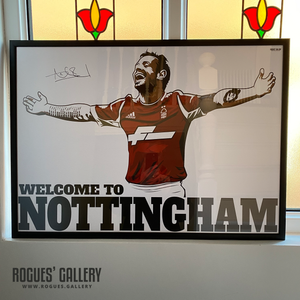 Andy Reid signed Nottingham Forest City Ground Irish left winger A1 autographed Welcome To Nottingham