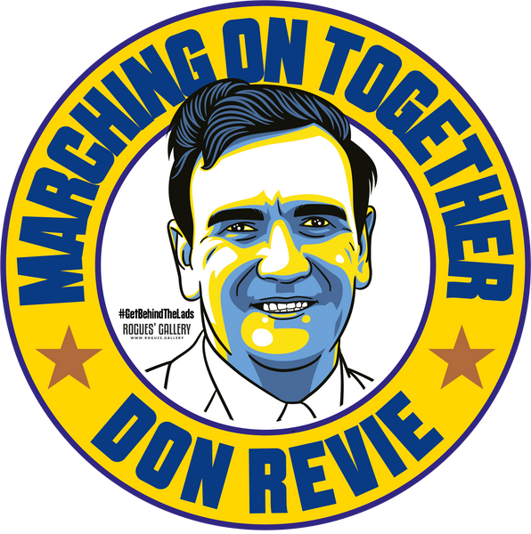Don Revie Leeds United marching on together Manager campaign stickers  #GetBehindTheLads