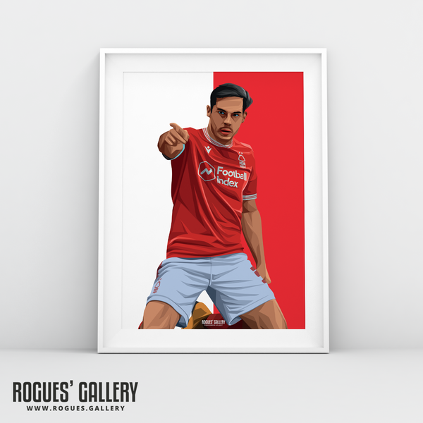 Yuri Ribeiro Nottingham Forest City Ground left back goal celebration poster A3 print edits