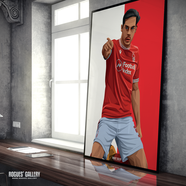 Yuri Ribeiro Nottingham Forest City Ground left back goal celebration poster A0 print edit portrait