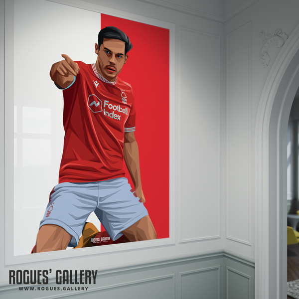 Yuri Ribeiro Nottingham Forest City Ground left back goal celebration poster A0 print art graphic design