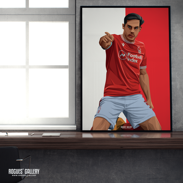 Yuri Ribeiro Nottingham Forest City Ground left back goal celebration poster A1 print first goal