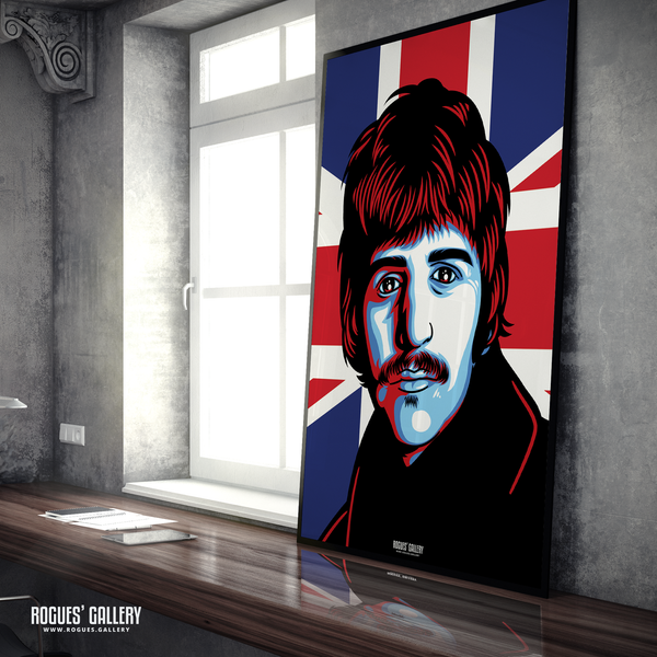 Ringo Starr The Beatles A0 huge large poster union jack massive