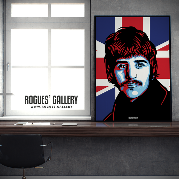 Ringo Starr The Beatles A1 huge large poster union jack
