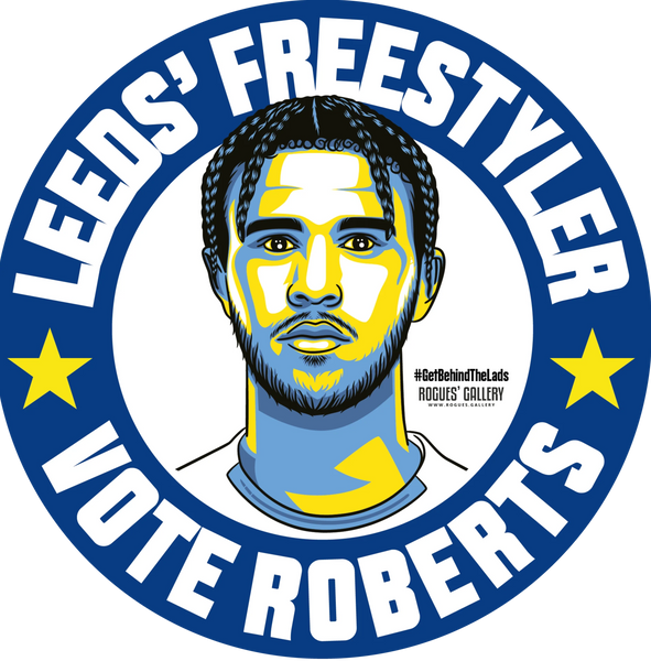 Tyler Roberts Leeds United forward freestyler beer mats Vote #GetBehindTheLads