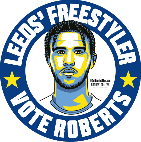 Tyler Roberts Leeds United forward freestyler stickers Vote #GetBehindTheLads
