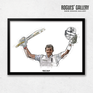 Joe Root Captain England three batsman art print A3 edit