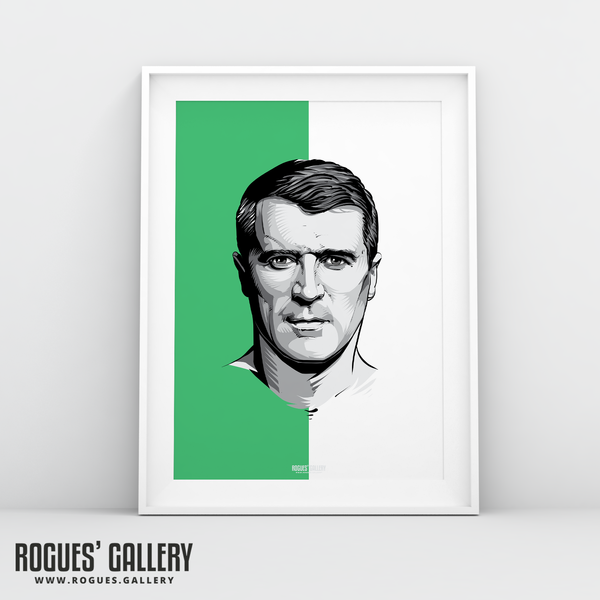 Roy Keane Republic of Ireland A3 print legend