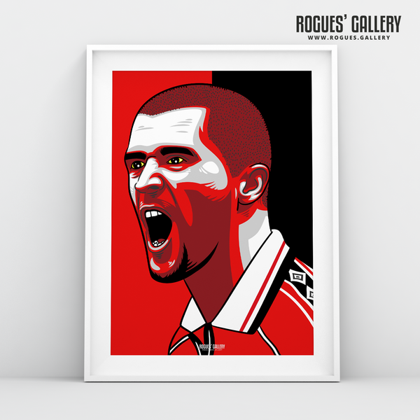 Roy Keane MUFC midfielder captain Old Trafford A3 print edits art