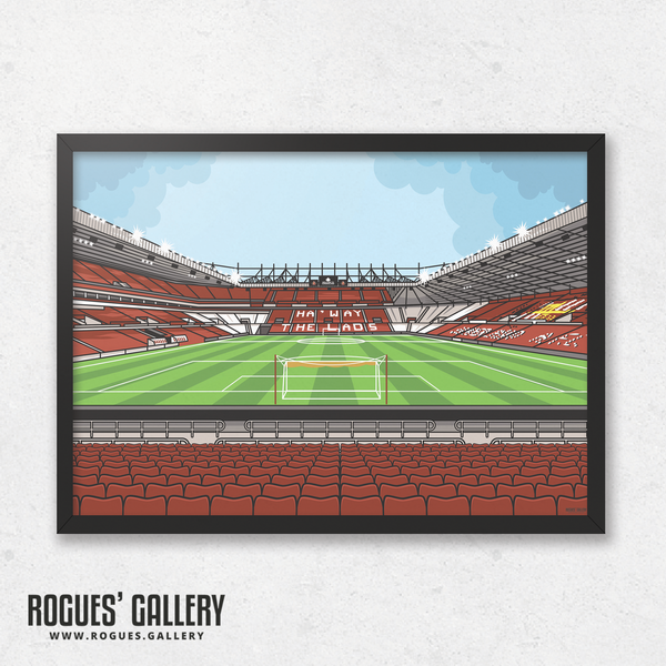 The Stadium of Light Sunderland AFC SAFC Roker Park Stokoe statues Black Cats red white A3 print