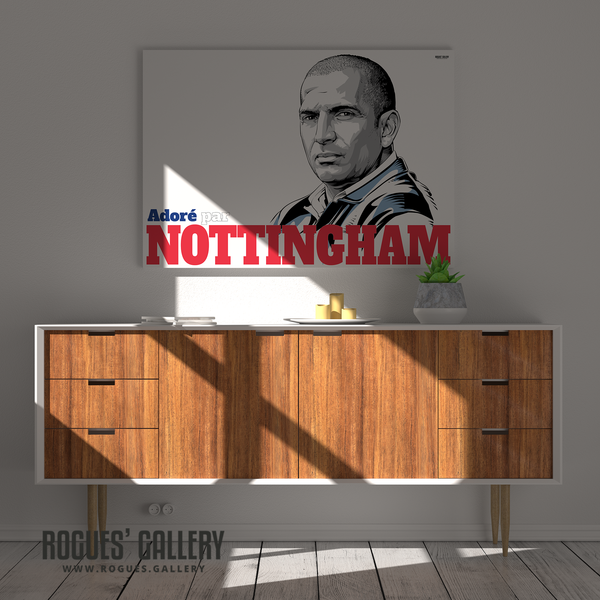 Sabri Lamouchi Nottingham Forest Manager Boss French Massive A0 art print Nottingham shadow