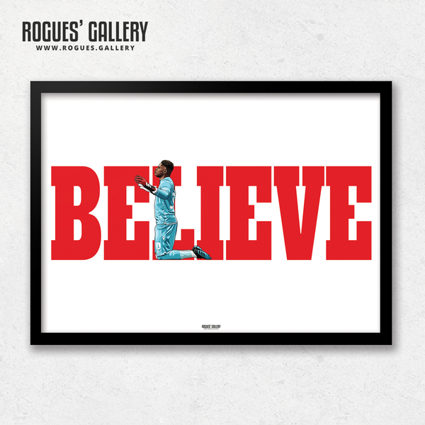 Brice Samba Nottingham Forest goalkeeper A3 art print Believe