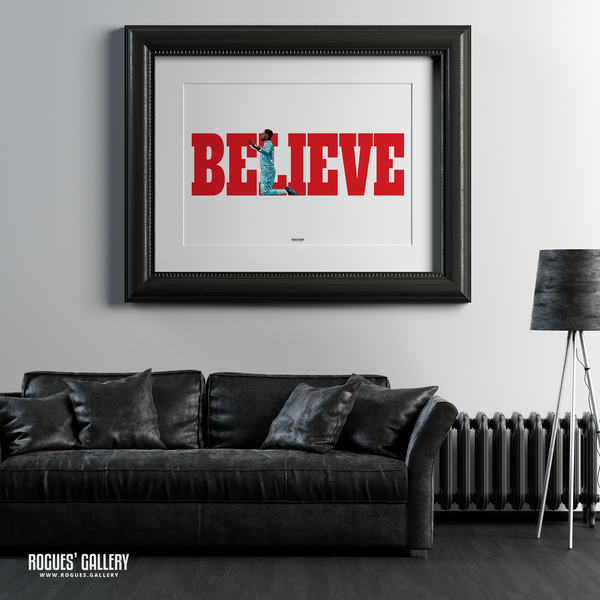 Brice Samba Nottingham Forest goalkeeper A1 art print Believe