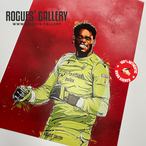 Brice Samba signed A3 prints Nottingham Forest goalkeeper