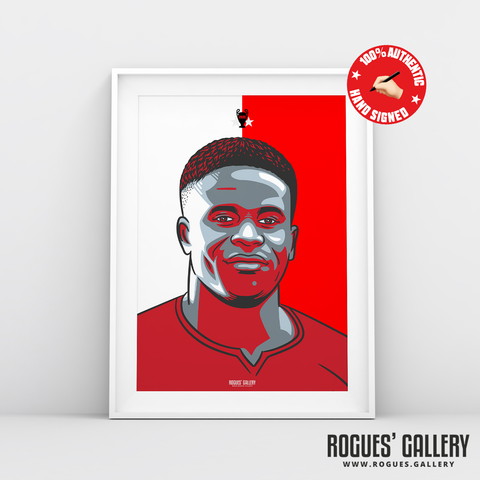 Brice Samba Nottingham Forest French goalkeeper #GetBehindTheLads Rogues' Gallery A3 red & White