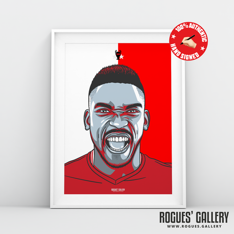 Sammy Ameobi Nottingham Forest winger signed red print A3 #GetBehindTheLads