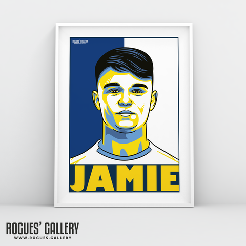 Jamie Shackleton Leeds United FC midfielder A3 art print design