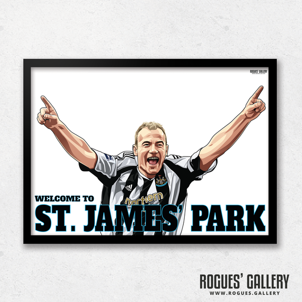Alan Shearer goal celebration St. James Park A3 art print Welcome to great
