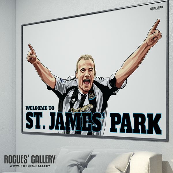 Alan Shearer goal celebration St. James Park A0 poster Welcome to great