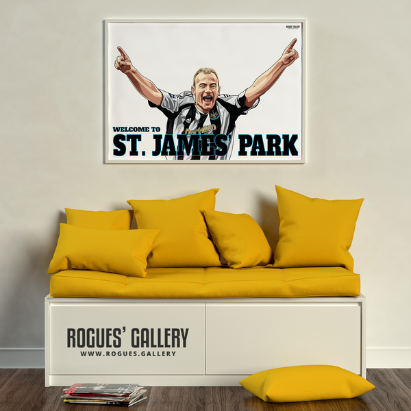 Alan Shearer goal celebration St. James Park A3 art print Welcome to toon great