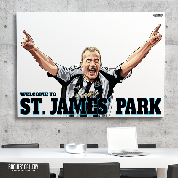 Alan Shearer goal celebration St. James Park A0 art print Welcome to great