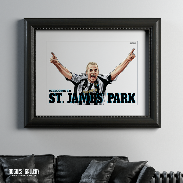 Alan Shearer goal celebration St. James Park A1 art print Welcome to great