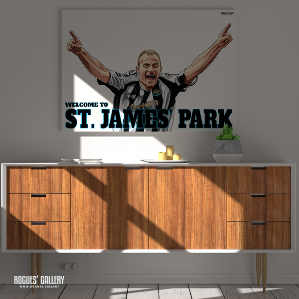 Alan Shearer goal celebration St. James Park A1 poster art print Welcome to great