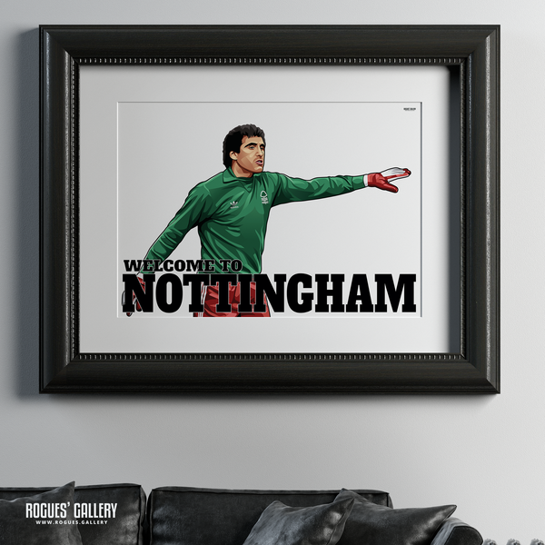 Peter Shilton Nottingham Forest goalkeeper  Welcome To Nottingham NFFC City Ground A1 print limited edition