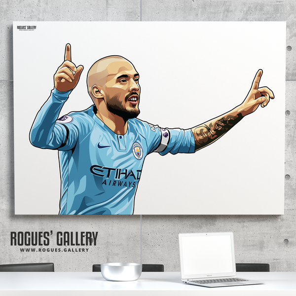 David Silva Manchester City Maine Road MCFC Sky Blues A0 Print