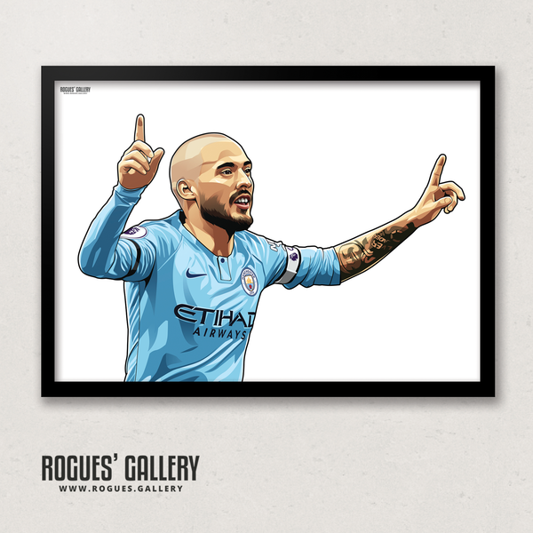 David Silva Manchester City Maine Road MCFC Sky Blues A3 Print