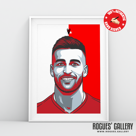Tiago Silva Nottingham Forest midfielder signed red print A3 #GetBehindTheLads