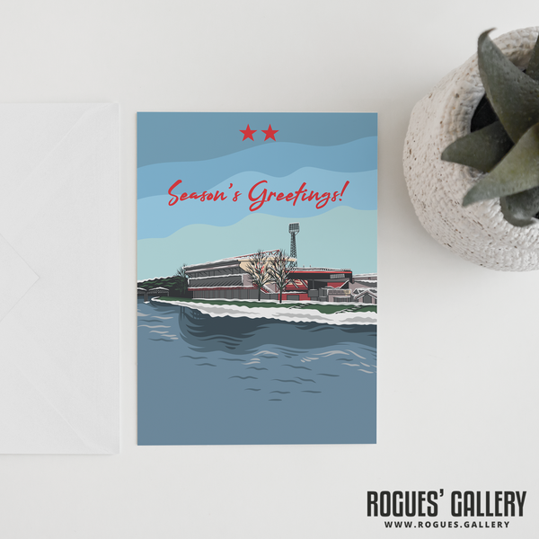 "The City Ground Nottingham Forest FC Season's Greetings Card 6x9"" Clough"