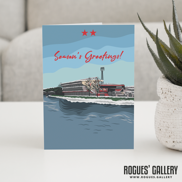 The City Ground Nottingham Forest FC Season's Greetings Card 6x9""