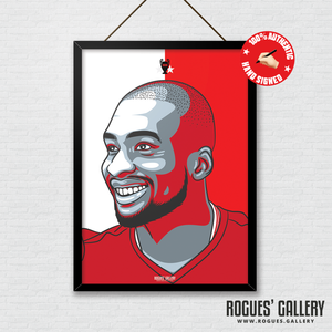 Samba Sow Nottingham Forest midfielder signed red print A3 #GetBehindTheLads