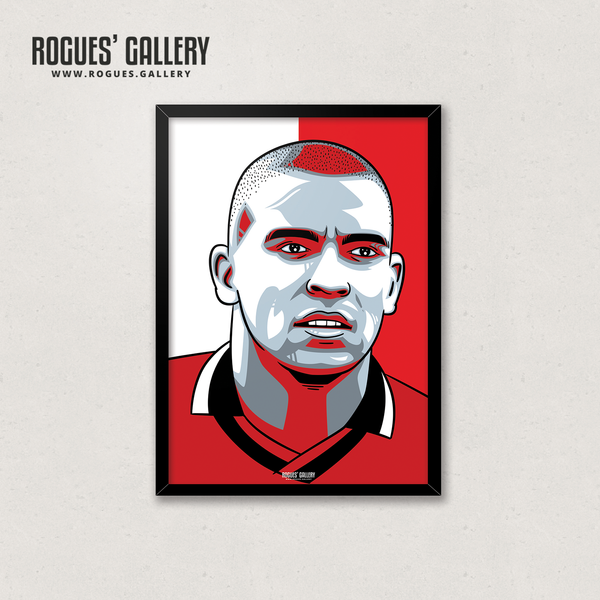 Stan Collymore Trickies NFFC Stanley City Ground Goals Nottingham Forest forward A3 print edits