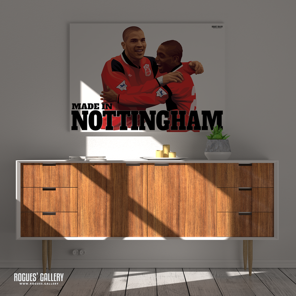 Stan Collymore Bryan Roy Nottingham Forest celebrating a goal The City Ground Legends A1 Art Prints