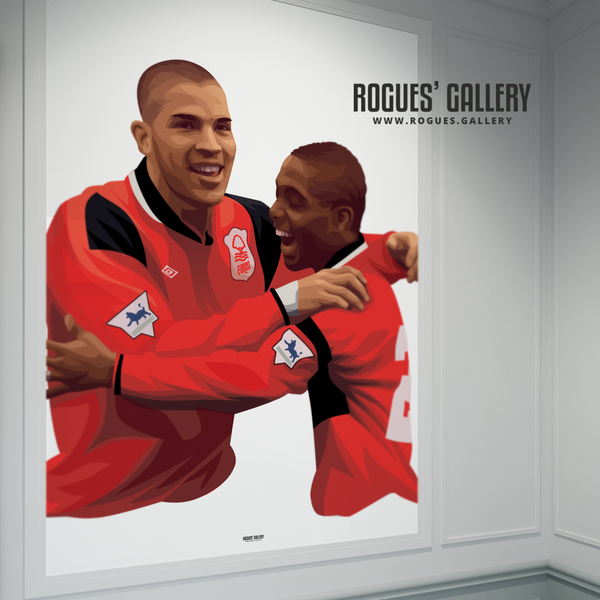 Stan Collymore Bryan Roy Nottingham Forest The City Ground A0 Art Print
