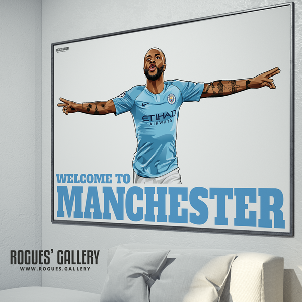 Raheem Sterling Manchester City Maine Road MCFC Sky Blues Winger England poster