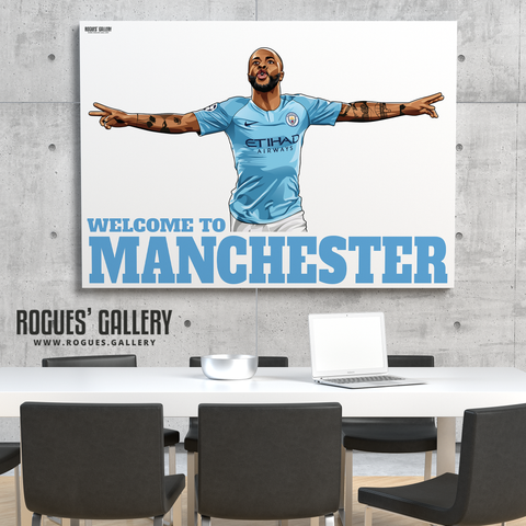 Raheem Sterling Manchester City Maine Road MCFC Sky Blues Winger England A0 Print Welcome